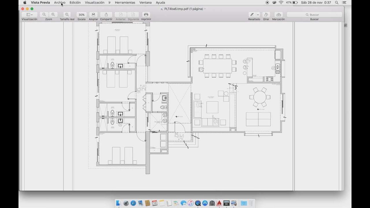 Print to pdf plano 90x60cm autocad para mac youtube for Planos de closet pdf