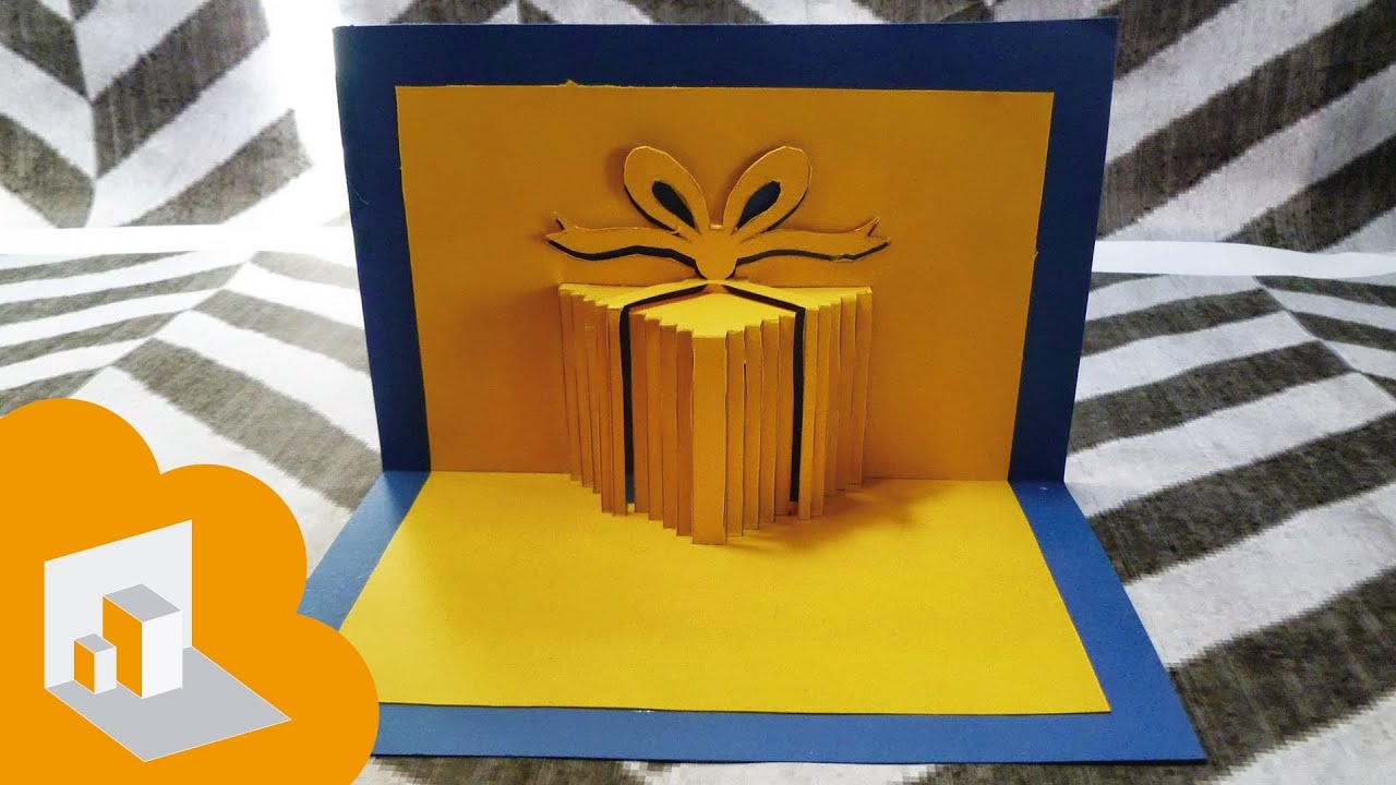 Tarjeta pop up caja de regalo cumplea os youtube for Hacer tarjeta cumpleanos