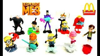 2017 DESPICABLE ME 3 McDONALD'S MINIONS HAPPY MEAL TOYS VS KINDER SURPRISE EGGS COMPLETE SET 10 KIDS
