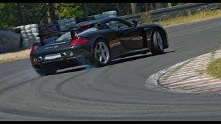 Black Porsche CARRERA GT drifting in Poland AMAZING SOUND