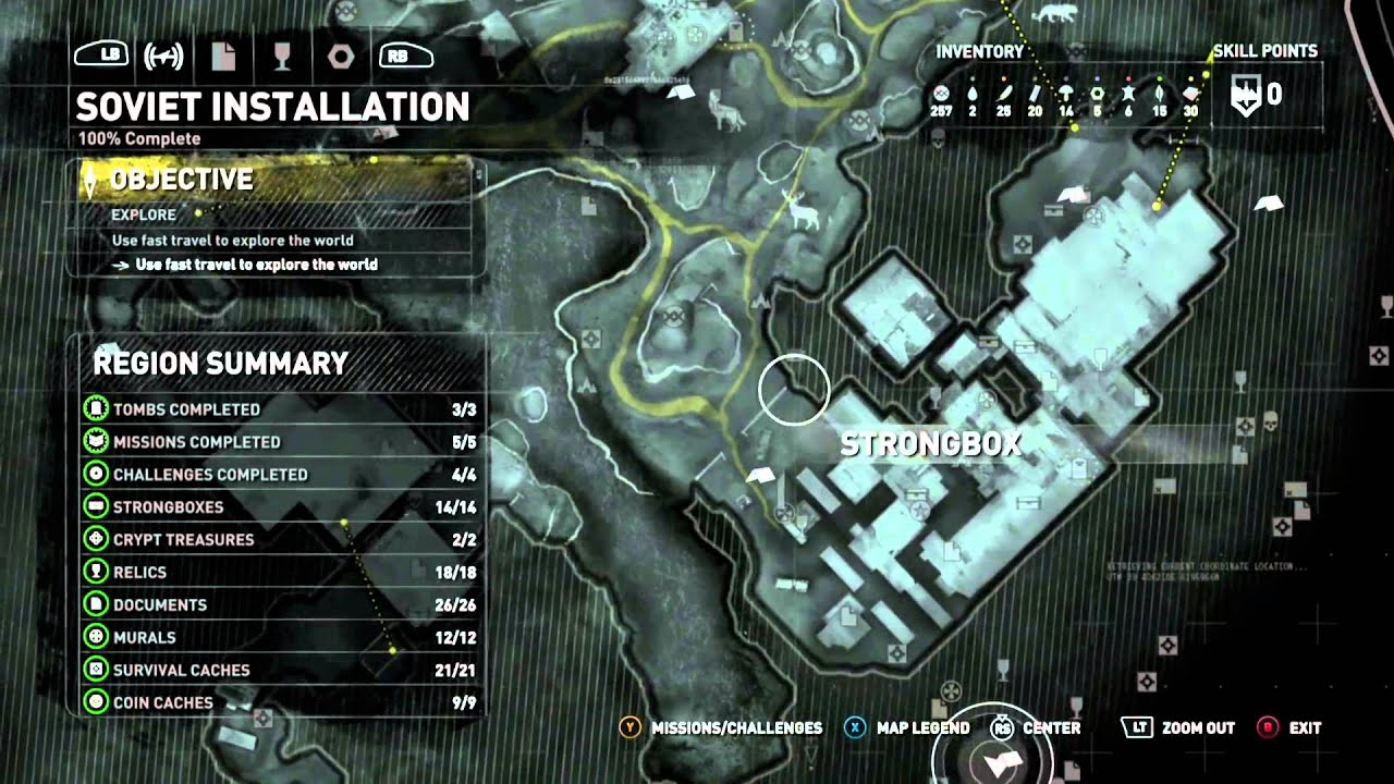 Rise of the Tomb Raider 100% Collectibles MAP ONLY - Soviet ... Tomb Raider Map on