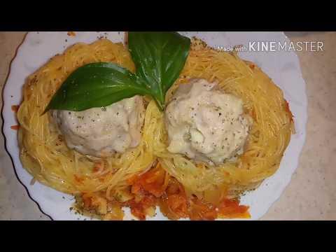 Гнезда из макарон с фаршем рецепт в мультиварке