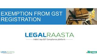 Exemption from GST Registration (Hindi)