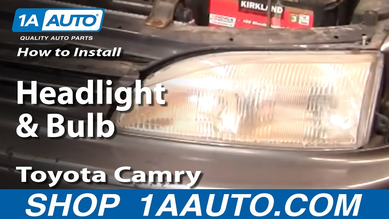 how to install replace headlight and bulb toyota camry 95 96 1aauto com youtube [ 1920 x 1080 Pixel ]