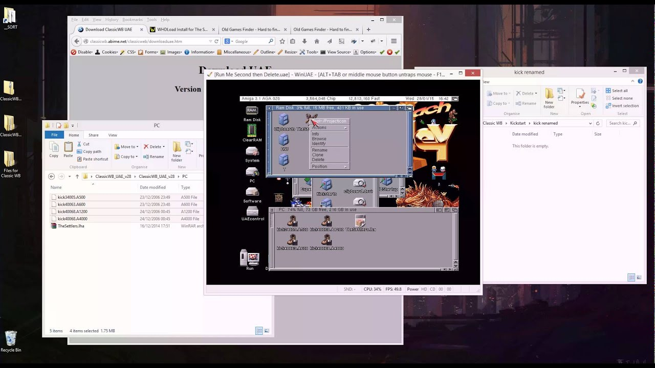 Install Amiga Emulator for Windows with Hard Drive and WHD Load support  using Classic Workbench
