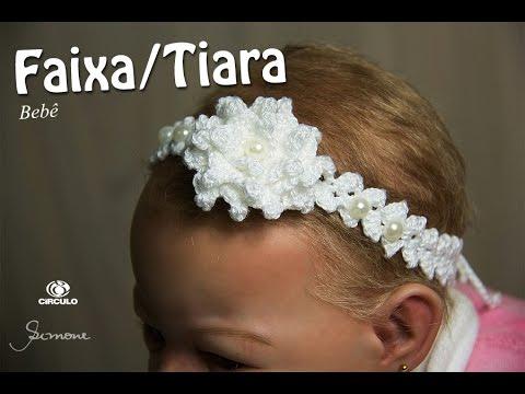 Faixa Tiara de Cabelo em Crochê para Bebê   Professora Simone - YouTube e04835df70