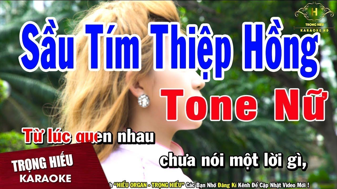Karaoke Sầu Tím Thiệp Hồng Tone Nữ Nhạc Sống | Trọng Hiếu