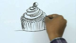 How to Draw a Cartoon Cup Cake