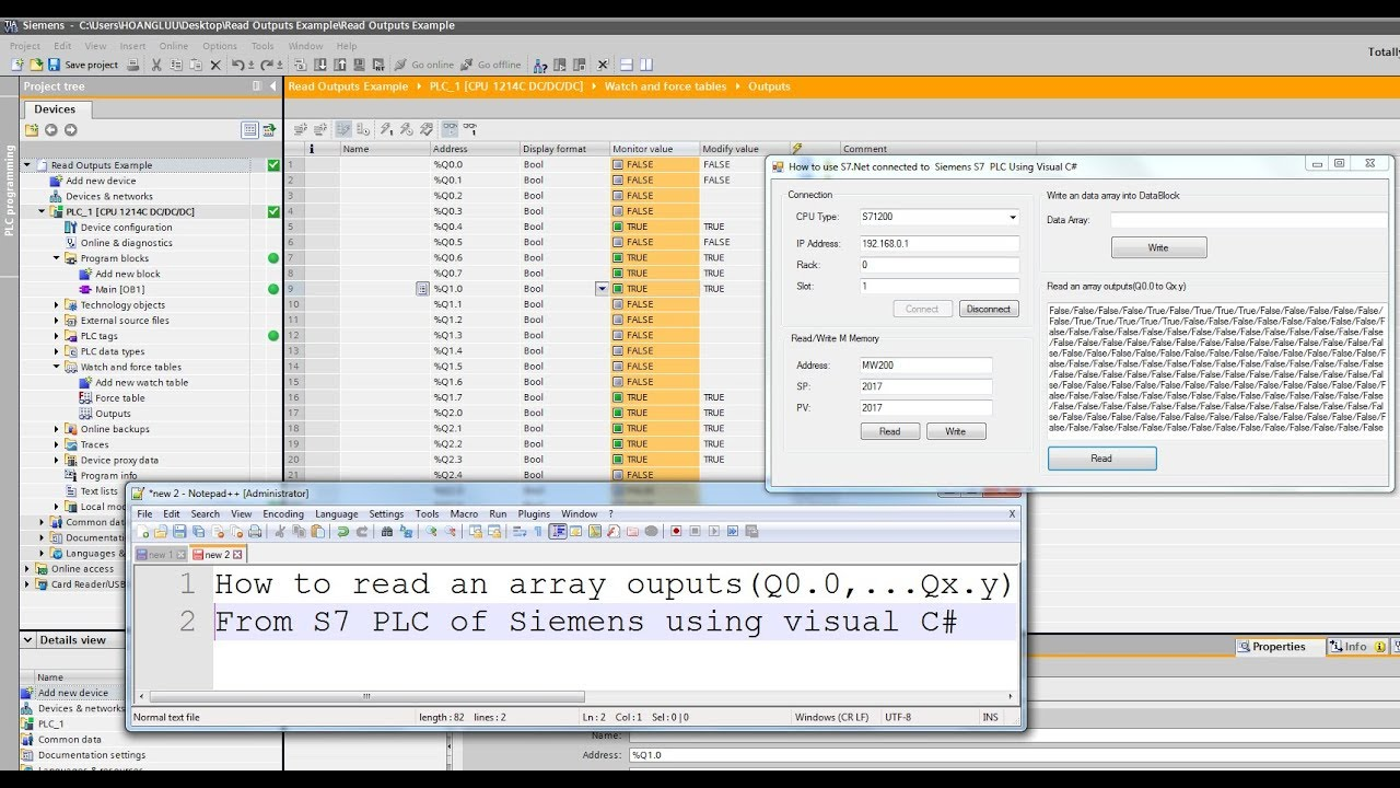 How to read an array ouputs (Q0 0 to Qx y )From S7 PLC of Siemens using  visual C#