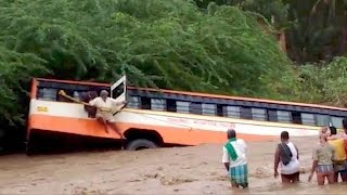 Quick-thinking Indian villagers save day after bus falls into river