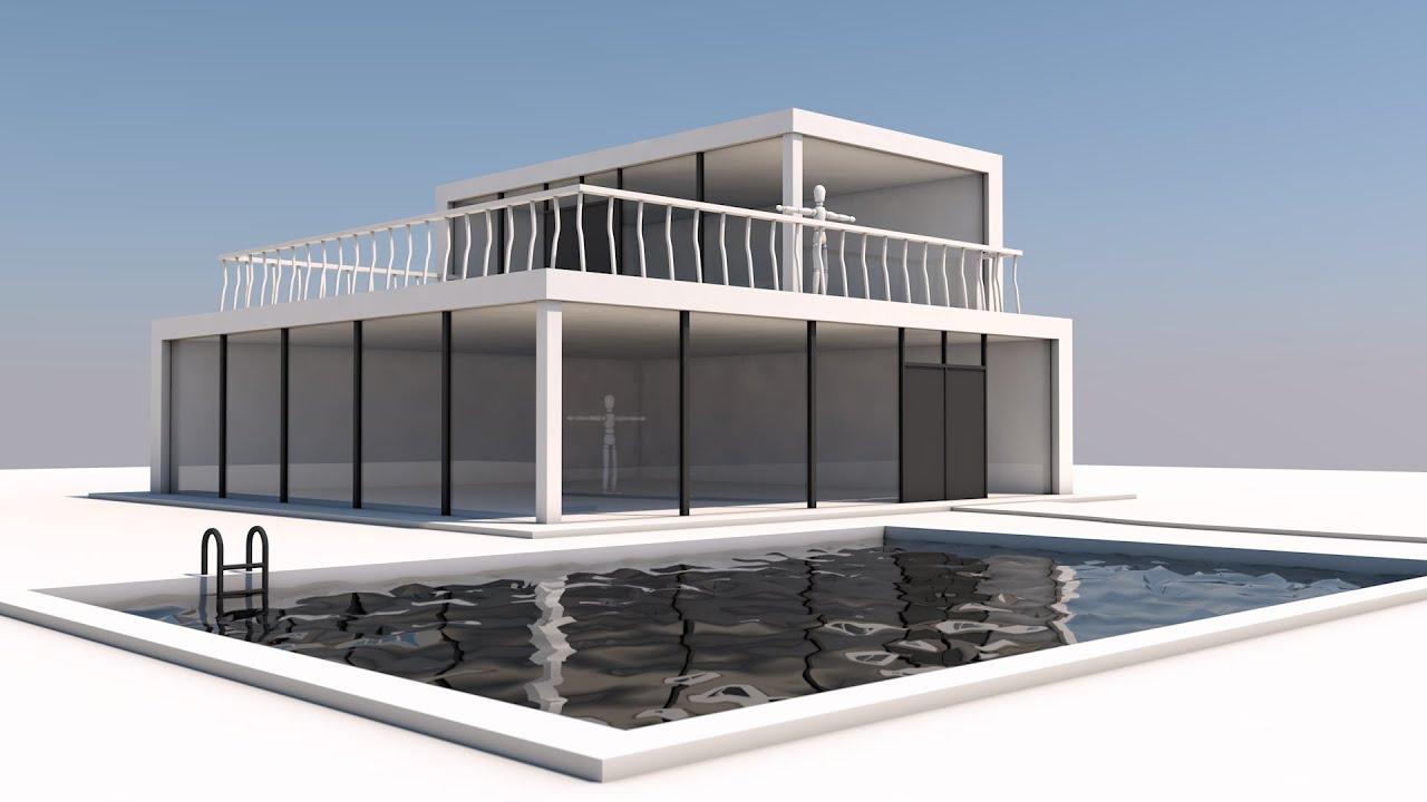 Cinema4d practice speedart modern house youtube for Software to model a house