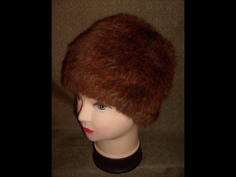 Вязаная шапочка из меха.