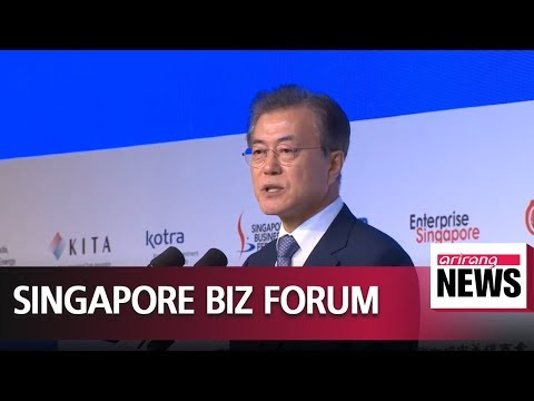 President Moon calls for more business cooperation with Singapore