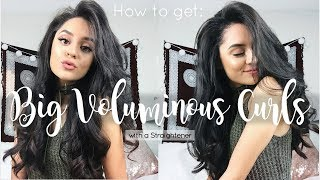HOW TO GET BIG VOLUMINOUS CURLS WITH A STRAIGHTENER | Simply Stephanie