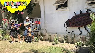 Nerf War with a GIANT COCKROACH | Skyheart Daddy goes in action with insect toys for kids