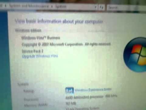 Windows Vista SP2 on a 1GHz Athlon with 768MB RAM