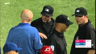 Aroldis Chapman Hits First Base Umpire Ron Kulpa From Wrigley Field's Bullpen