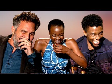 'AVENGERS' Cast Black Panther Hysterically Laughing At Mark Ruffalo's Outfit ... INFINITY WAR