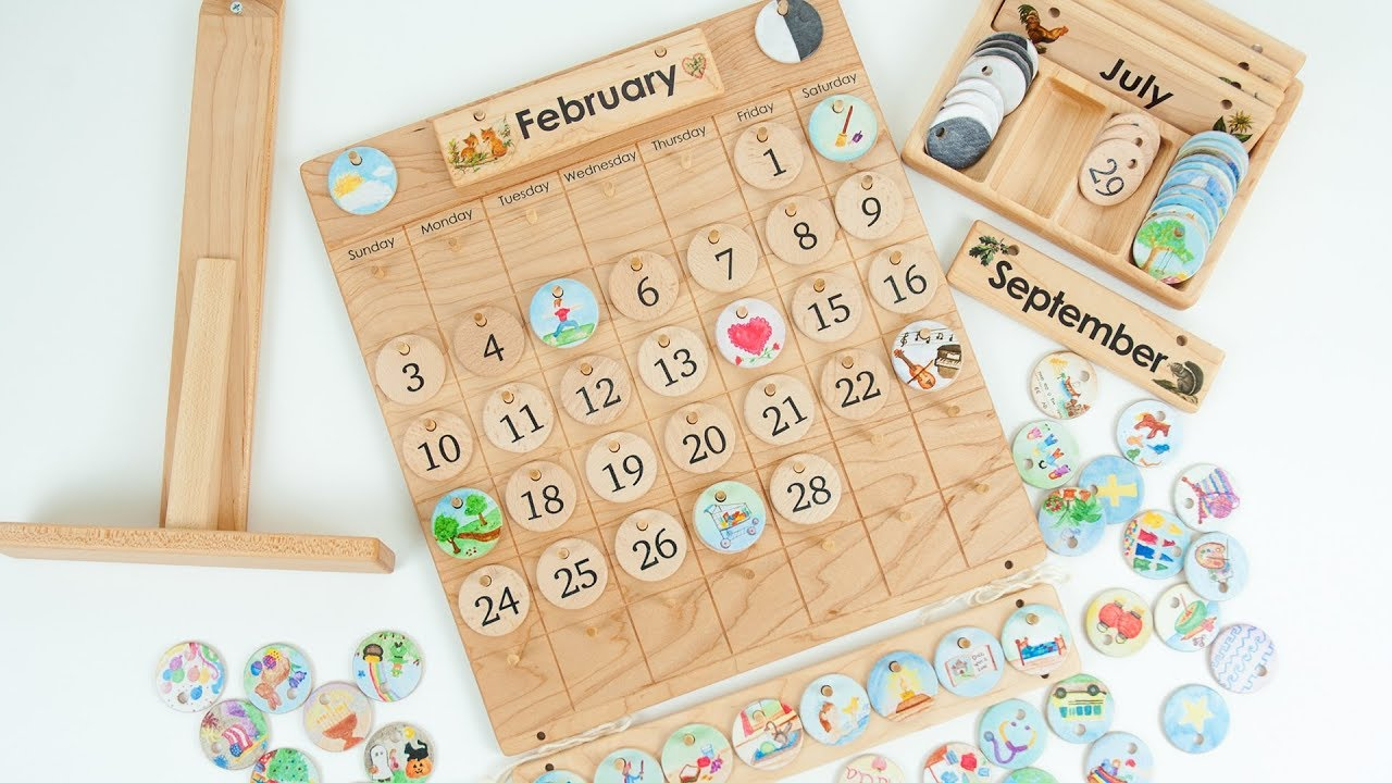Wooden Perpetual Montessori Calendar Natural Days From Jennifer