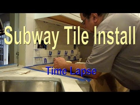 Subway Tile Kitchen Backsplash Start to Finish Time Lapse