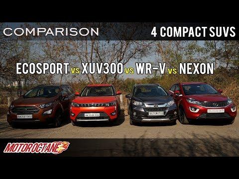 Mahindra XUV300 vs Tata Nexon vs Ford EcoSport vs Honda WRV   Petrol Comparison   MotorOctane