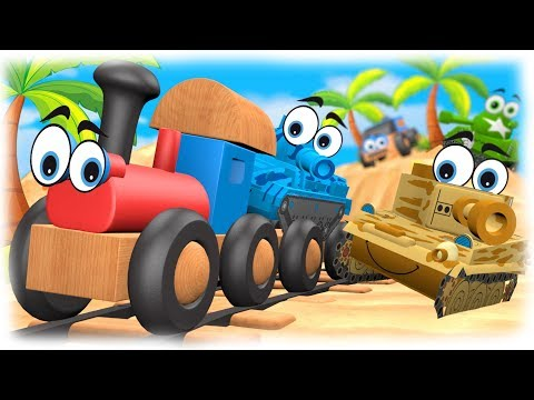 Cartoons Warfare #3D - Tropical Vacation Cartoon about Cars vs Tanks & Train VIDEO FOR CHILDREN