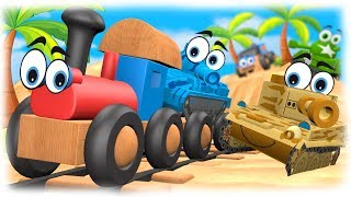 CARTOONS FOR CHILDREN: Warfare 3D Tropical Vacation Cartoon about Cars vs Tanks & Train for Kids