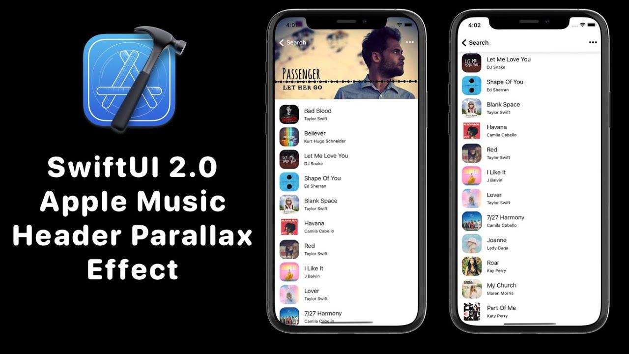 SwiftUI 2.0 Apple Music Header Animation [ Parallax Effect ]