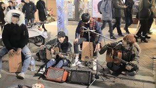 Man in the Mirror Acoustic Guitar Cover Busking at Hongdae, Korea (160220)