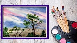 Как нарисовать небо и деревья акварелью! #Dari_Art(Небо, оно такое разное! В этом видео предлагаю создать немного пасмурное небо, с нотками надвигающей осени!..., 2015-07-16T14:14:35.000Z)