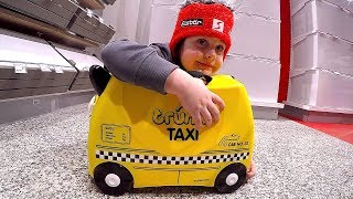 Ride on Trunki Case Taxi at the Airport | Family Playtime and Travel by Plane | Video for kids