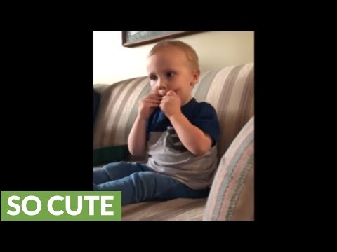 3-year-old boy very proud of his harmonica solo