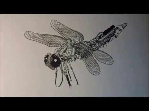robotic dragonfly drawing youtube