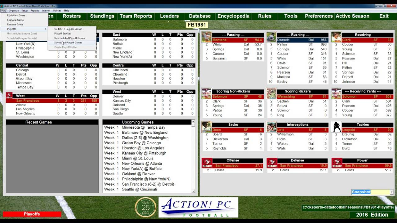 1981 Nfl Playoffs Dallas Vs San Francisco Replay Action Pc Football