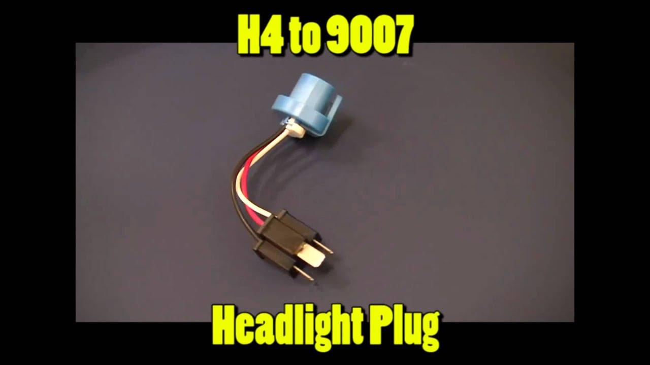 H4 To 9007 Headlight Plug Youtube Socket Wiring Diagram