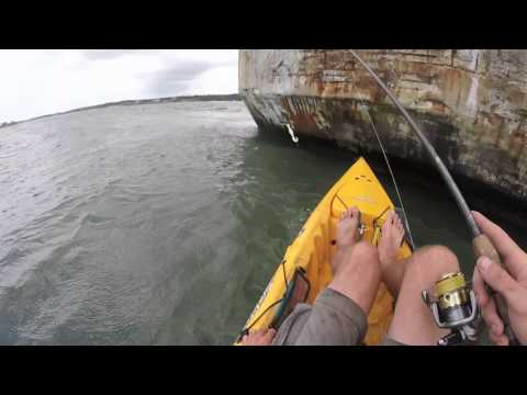 Fishing Kiptopeke's Concrete Ships by Kayak August 2015. Flounder/Trout VA