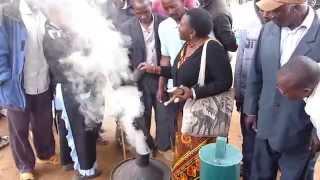 A demo on closing down a mini 'branch' charcoal making kiln. (in KiKamba)