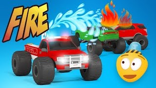 Fire Brigade Monster Trucks & Police Car Chase | Emergency Vehicles Cartoon | Rescue City Heroes