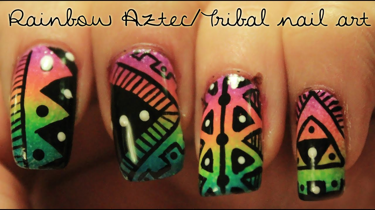 Rainbow Aztec/Tribal nail art - YouTube