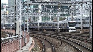 東京駅を出発する特急スーパビュー踊り子251系と有楽町駅前ですれ違う上野東京ライン常磐線下りE531系