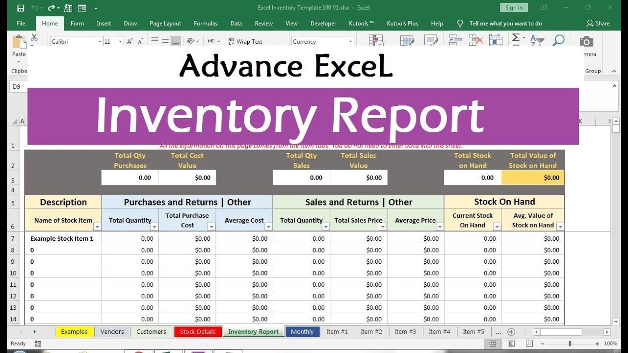 inventory management excel formulas
