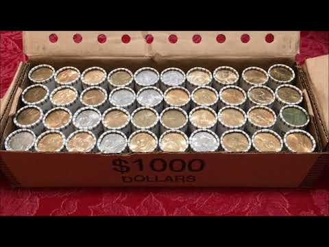 COIN ROLL HUNTING A $1000 BOX OF DOLLAR COINS SEARCHING FOR RARE AND VALUABLE COINS!