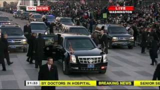 President Obama walks down Pennsylvania avenue during inaugural parade 2008 PART2 (16:9 HQ)