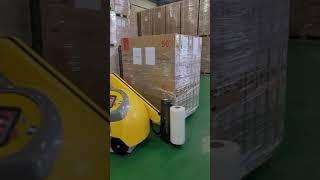 파렛트랩핑작업에 적용된 이동식로봇 랩핑기