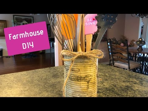 How To Decoupage A Napkin On A Tin Can | Farmhouse Utensil Holder DIY