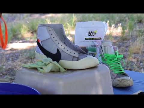 How to clean Nike Off White Blazers with Bolt Super Shoe Cleaner.