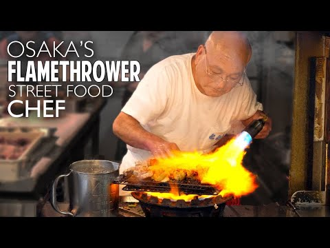 Osaka's Flamethrower Street Food Chef ★ ONLY in JAPAN
