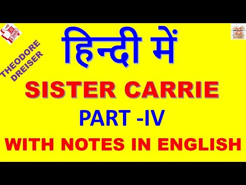 Sister Carrie In Hindi #Part IV# Theodore Dreiser   #  American Novel  # MA ENGLISH  # English Lit