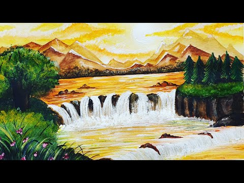 Mountain Waterfall Landscape painting|watercolor Waterfall landscape painting|art journal episode 13