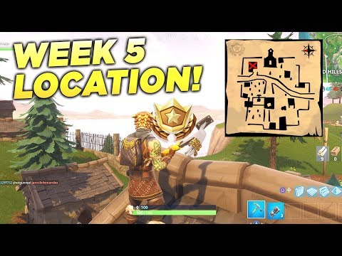 """""""Follow the treasure map found in Snobby Shores"""" Fortnite Location Week 5 Season 5 Battle Star!"""